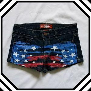 Zecchino Dark Wash American Flag Jean Shorts